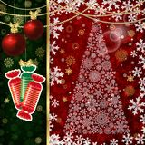Christmas background with Christmas balls, decor elements and snowflakes stock illustration