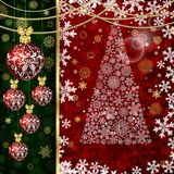 Christmas background with Christmas balls, decor elements and snowflakes royalty free illustration