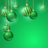 Christmas background with christmas balls. Green christmas background with christmas balls vector illustration