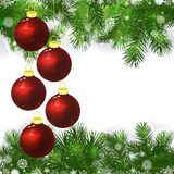 Christmas background with Christmas balls and green branches. Of Christmas tree Royalty Free Stock Photo