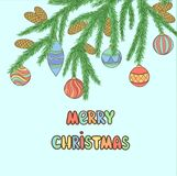 Christmas background with Christmas Balls Hanging on a Christmas tree branch. Stock Images