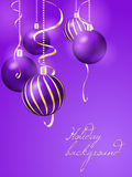 Christmas background with christmas balls. Purple christmas background with christmas balls vector illustration