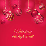 Christmas background with christmas balls. Red christmas background with christmas balls royalty free illustration