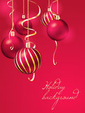 Christmas background with christmas balls. Red christmas background with christmas balls stock illustration