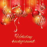 Christmas background with christmas balls. Red christmas background with christmas balls vector illustration