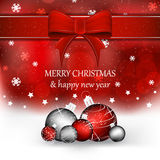Christmas background with christmas balls in red color Stock Photo