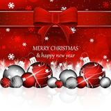 Christmas background with christmas balls in red color Royalty Free Stock Images