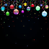 Christmas background with Christmas balls. Serpentine and confetti Stock Photo