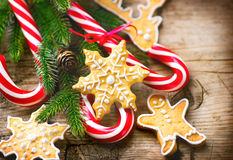 Christmas background with christmas cookies and candy canes Stock Photography