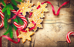Christmas background with christmas cookies and candy canes Stock Photo