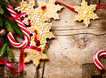 Christmas background with christmas cookies and candy canes Stock Photos