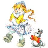 Christmas background. Christmas cute girl. watercolor illustration girl. Royalty Free Stock Photo