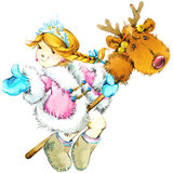 Christmas background. Christmas cute girl. watercolor illustration girl. Stock Photo