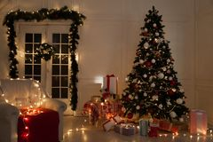 Christmas background Christmas decoration gifts toys lights Garland royalty free stock photos