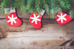 Christmas background 2018. Christmas decorations on old dark boards. Christmas background. Christmas Socks. New Year background. Xmax background. Christmas tree Stock Photos