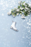 Christmas background with christmas decorations skates Royalty Free Stock Images