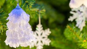 Christmas background and christmas decorations white bell with beautiful pine tree stock photo