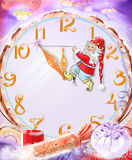 Christmas background, Christmas fabulous background with dwarf and big clock Stock Image