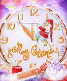 Christmas background, Christmas fabulous background with dwarf and big clock Stock Images
