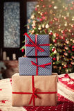 Christmas Background with Christmas Gifts and Xmas Tree at Home Royalty Free Stock Photos