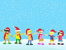 Christmas kids on snowing background. The Christmas background of Christmas kids with Christmas hats on snowing day Royalty Free Stock Photo