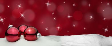 Christmas background - Christmas Ornament red - Snow Royalty Free Stock Photography