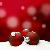 Christmas background - Christmas Ornament red - Snow. Christmas background - Christmas Ornaments red - Snow Stock Photography