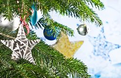Christmas Background with Christmas Star. On the Tree Royalty Free Stock Photography