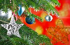Christmas Background with Christmas Star. On the Tree Stock Photos