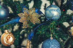 Christmas Background with Christmas Tree,  Balls and feathers Royalty Free Stock Photos