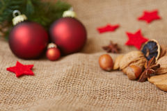 Christmas background with christmas tree balls Stock Photo