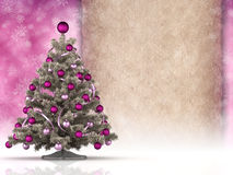 Christmas background - christmas tree and blank paper sheet vector illustration