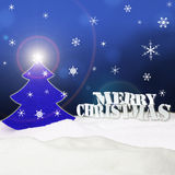 Christmas background - Christmas Tree blue - Snow - Merry Christ Royalty Free Stock Photography