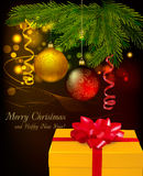 Christmas background with christmas tree branches, Royalty Free Stock Photography