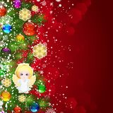 Christmas background with Christmas tree branches decorated. With glass balls and toys Royalty Free Stock Images