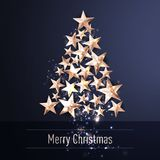 Christmas Background with Christmas Tree of Cutout Shining Gold Stars. Vector illustration Royalty Free Stock Photos