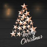 Christmas Background with Christmas Tree of Cutout Shining Gold Stars. Vector illustration Stock Images