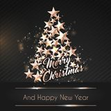 Christmas Background with Christmas Tree of Cutout Shining Gold Stars. Vector illustration Royalty Free Stock Photography