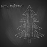 Christmas background with Christmas tree drawn with chalk on black chalkboard. Vector illustration Royalty Free Stock Image