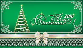 2016 Christmas background with Christmas tree. In the emerald color Royalty Free Stock Image