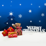 Christmas background - Christmas tree - gifts - blue - Snow Royalty Free Stock Images