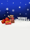 Christmas background - Christmas tree - gifts - blue - Snow Royalty Free Stock Image