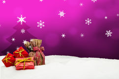 Christmas background - Christmas tree - gifts - pink - Snow. Christmas background - Christmas tree - gifts - pink Royalty Free Stock Image