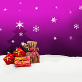 Christmas background - Christmas tree - gifts - pink - Snow. Christmas background - Christmas tree - gifts - pink Stock Photos