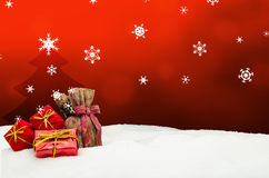 Christmas background - Christmas tree - gifts - red - Snow. Christmas background - Christmas tree - gifts - red Stock Photography