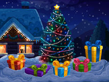 Christmas background with Christmas tree and gifts. Vector illustration Stock Image