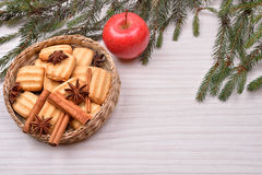 Christmas background with Christmas tree, gingerbread cookies wi Stock Photos