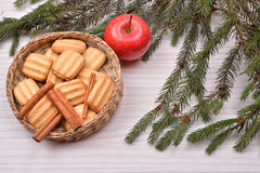 Christmas background with Christmas tree, gingerbread cookies wi Stock Photo