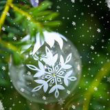 Christmas Background with Christmas Tree and Glass Ball Royalty Free Stock Photo