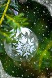 Christmas Background with Christmas Tree and Glass Ball Stock Photography